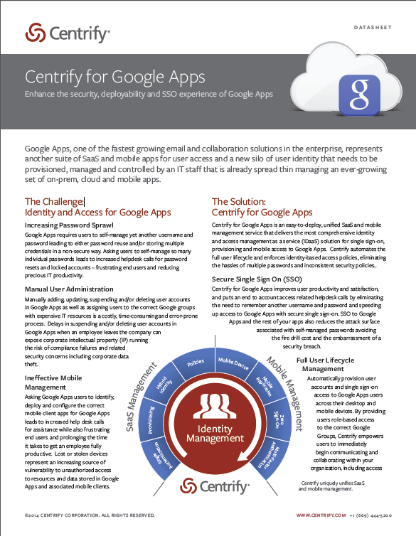 Centrify for Google Apps Datasheet