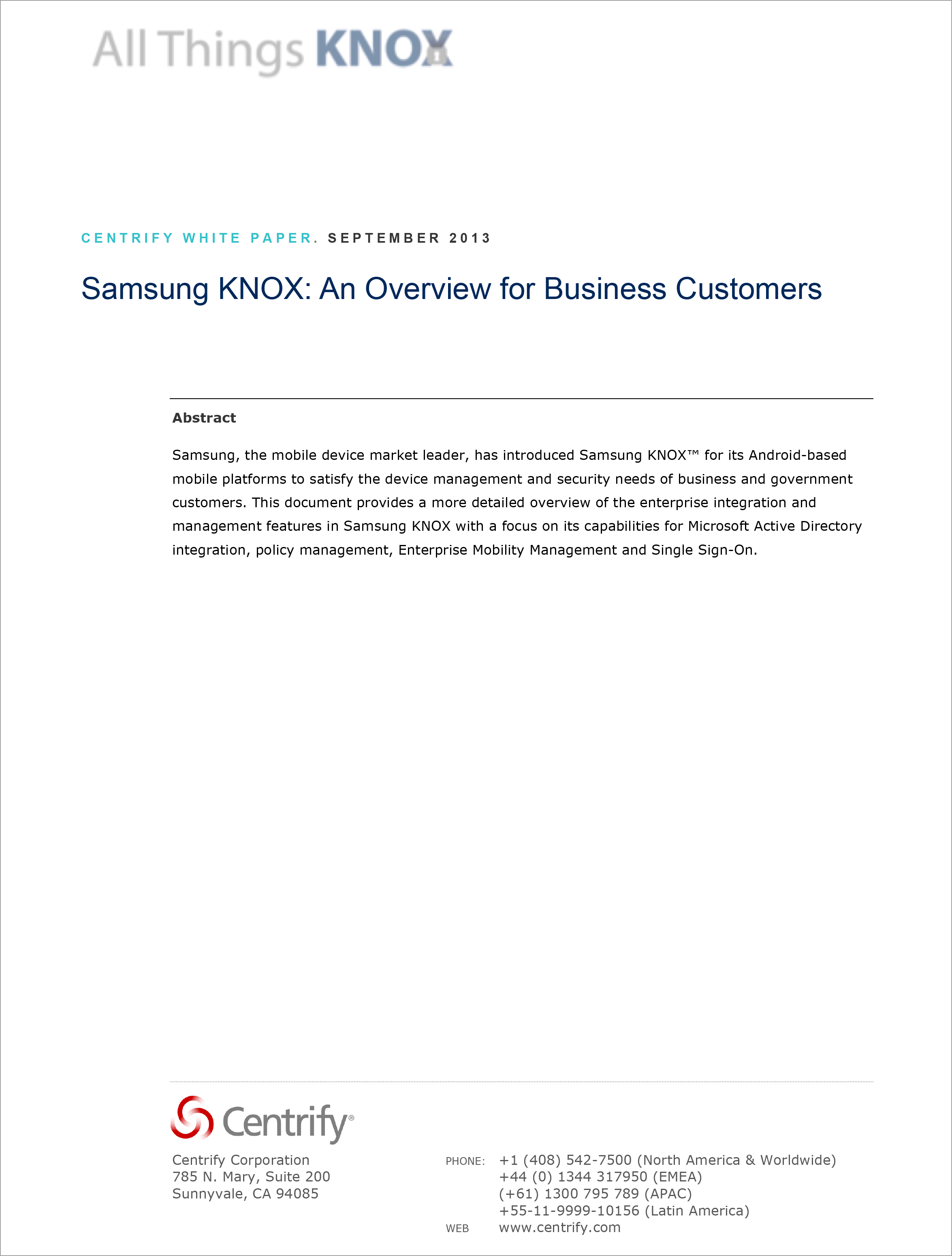 Samsung KNOX: An Overview for Business Customers