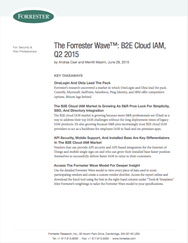 Forrester: Centrify is the top vendor for strategy in the 2015 Forrester Wave for Cloud Identity and Access Management