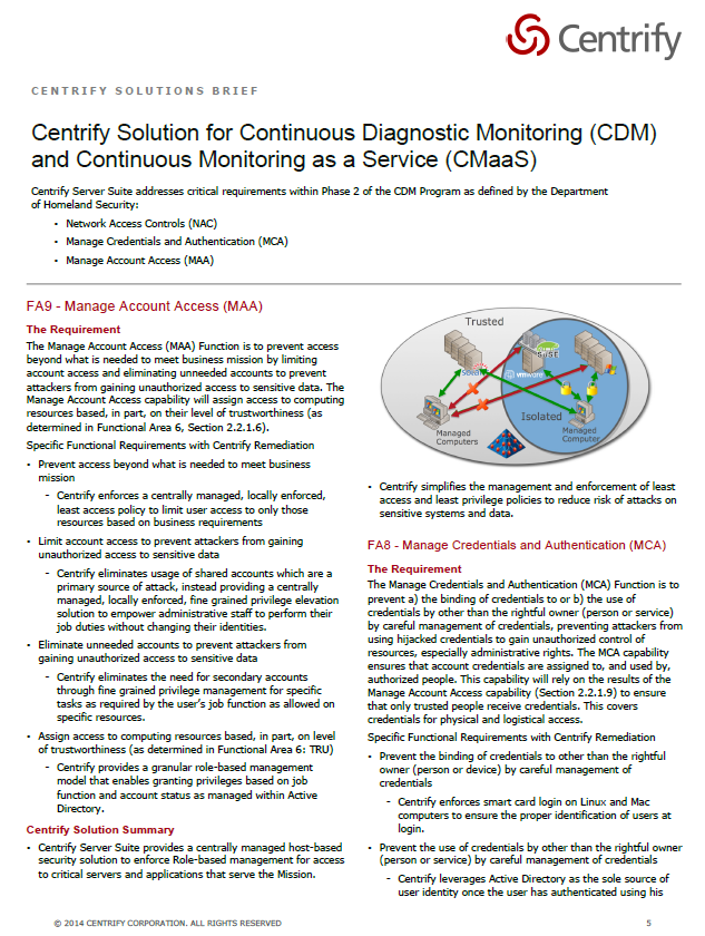 Centrify Solution for CDM and CMaaS