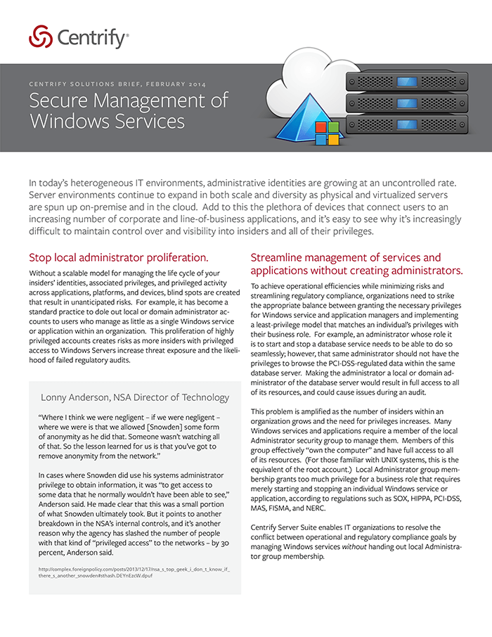 Secure Management of Windows Services