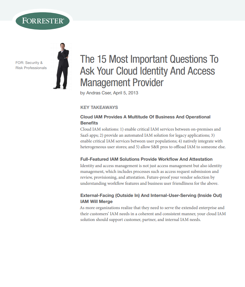 Forrester: The Fifteen Most Important Questions to Ask Your Cloud IAM Provider