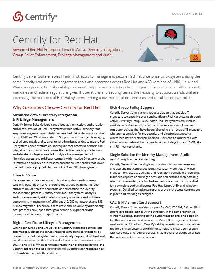 Centrify for Red Hat