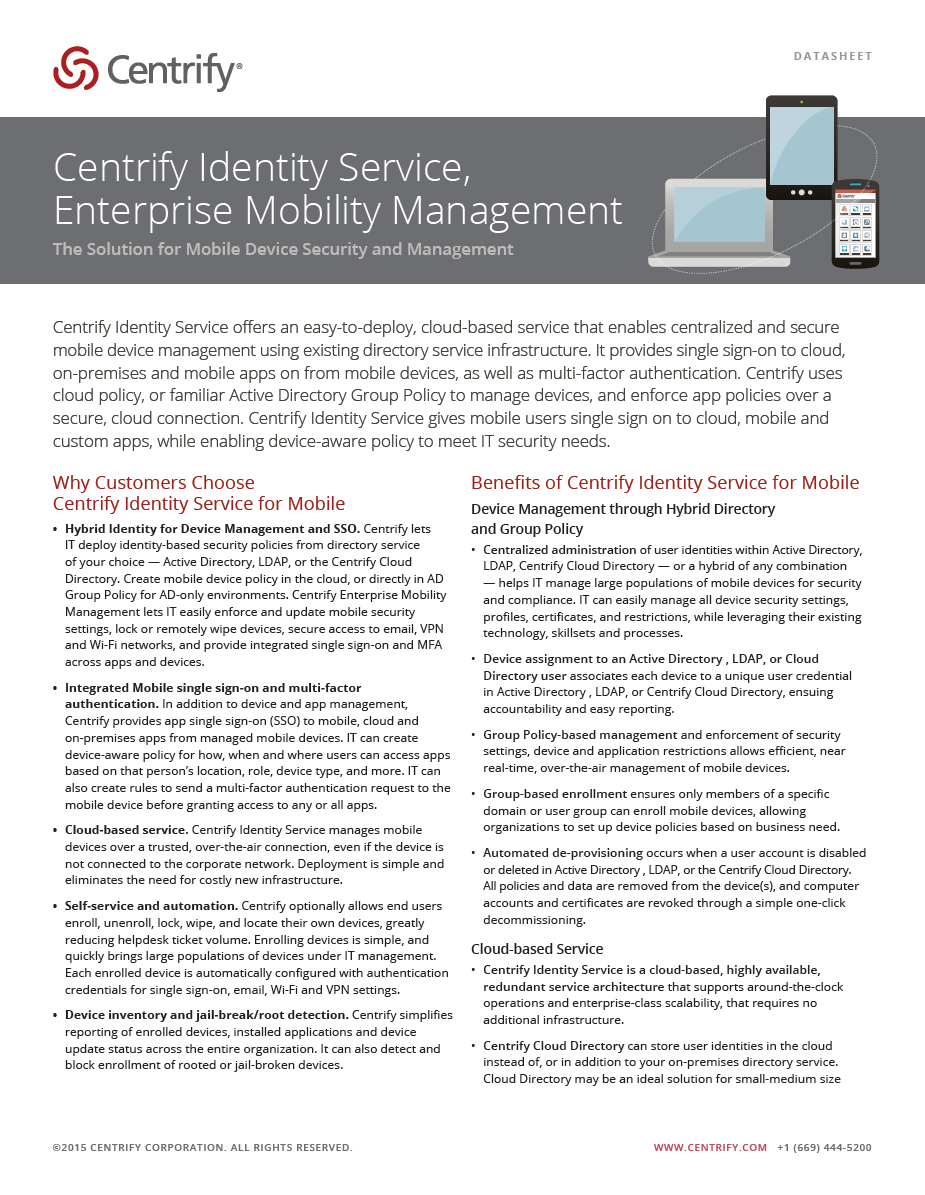 Centrify Identity Service, Enterprise Mobility Management