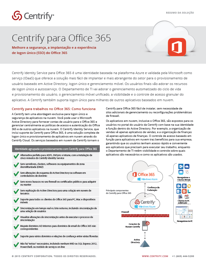 Centrify for Office 365 - Portuguese