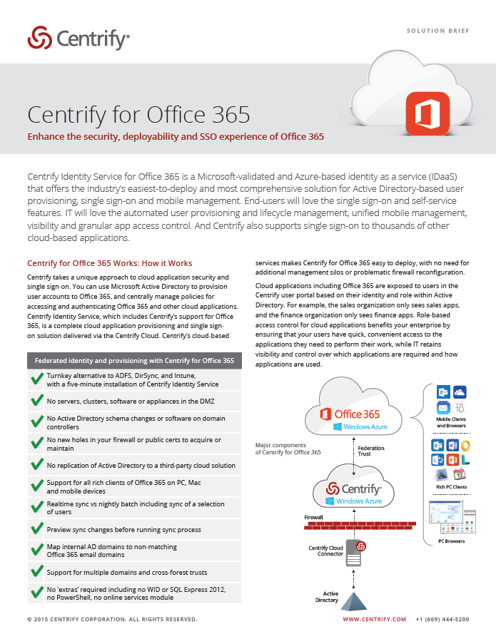 Centrify for Office 365