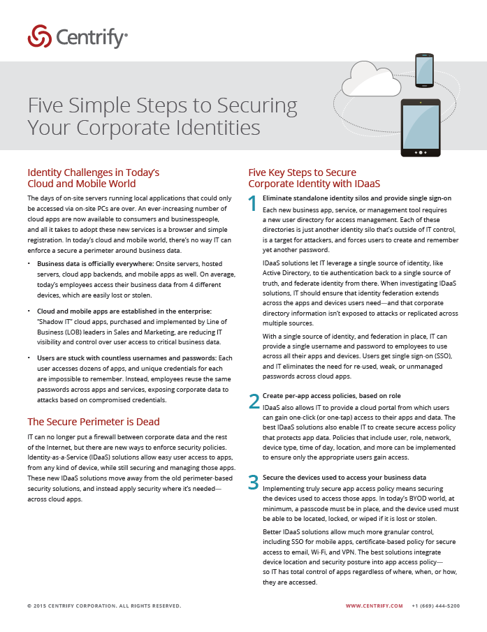 Five Simple Steps to Securing Your Corporate Identities