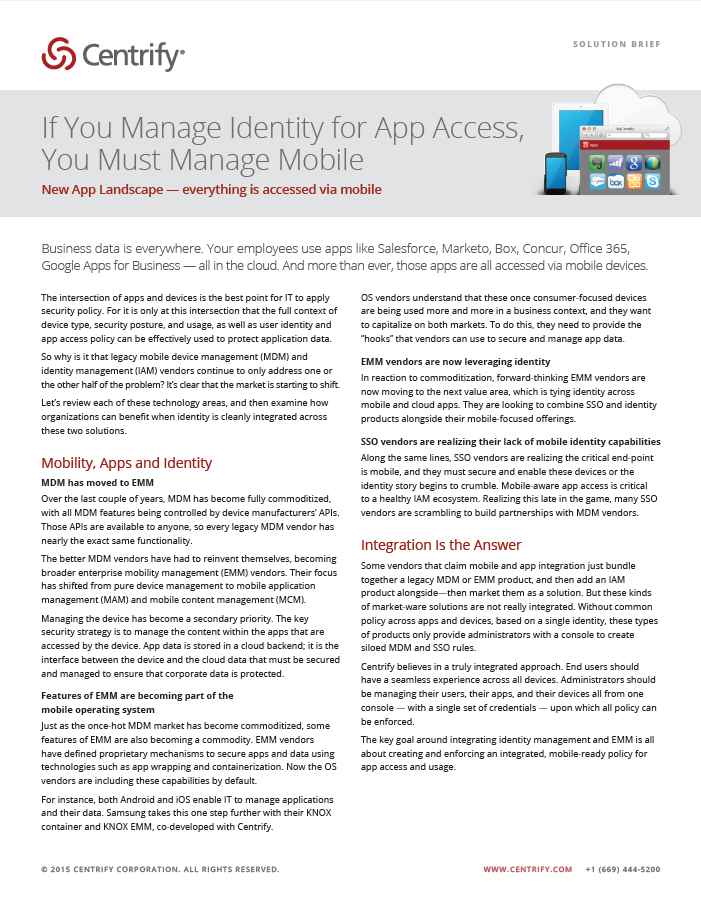 If You Manage Identity for App Access, You Must Manage Mobile