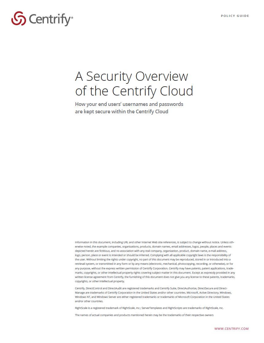 A Security Overview of the Centrify Cloud Service