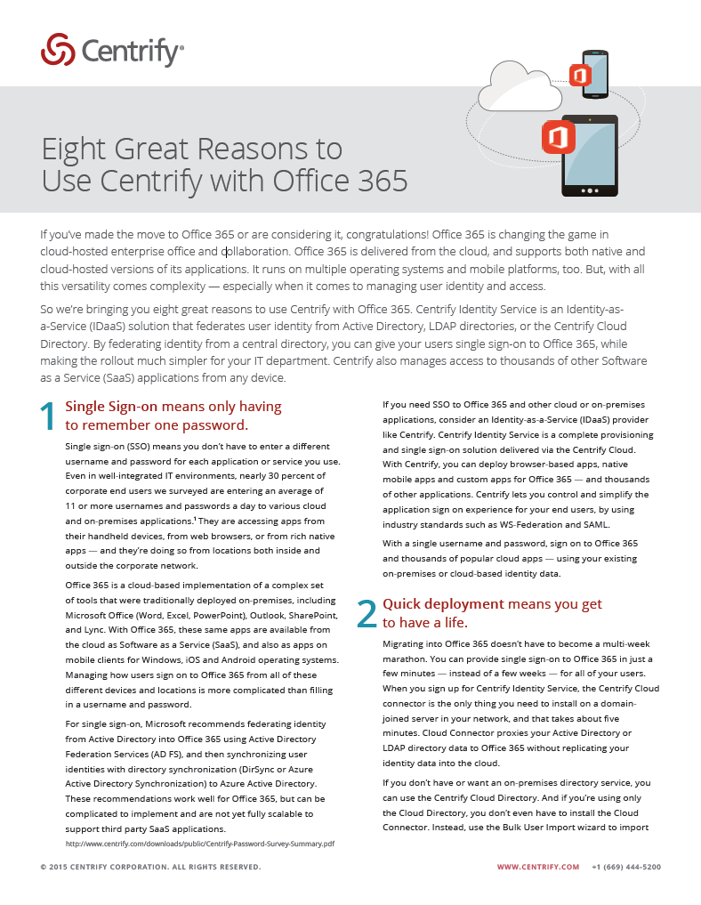 Eight Great Reasons to Use Centrify with Office 365