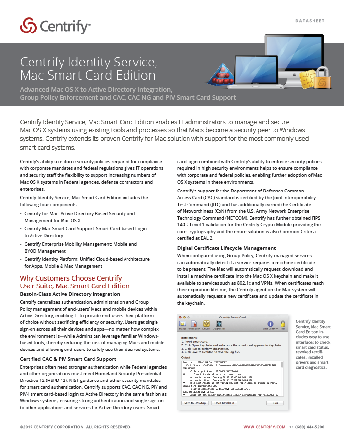 Centrify Identity Service, Mac Smart Card Edition