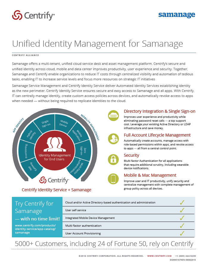 Centrify Alliance - Unified Identity Management for Samanage