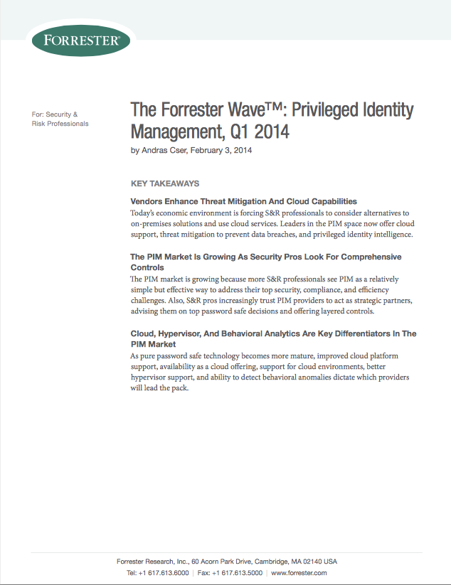 Forrester: Centrify Cited as a Strong Performer in Privileged Identity Management Wave Report