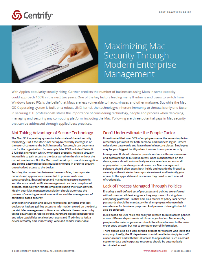 Maximizing Mac Security Through Modern Enterprise Management