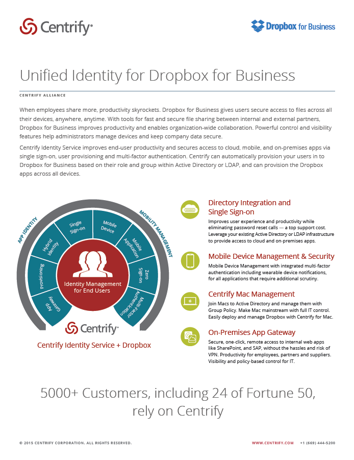 Centrify Alliance - Unified Identity Management for Dropbox for Business