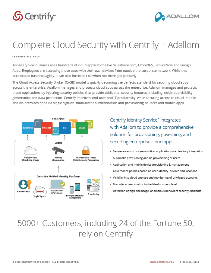 Centrify Alliance - Complete Cloud Security with Centrify + Adallom