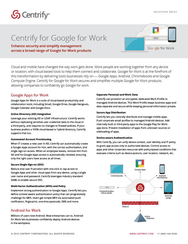 Centrify for Google for Work