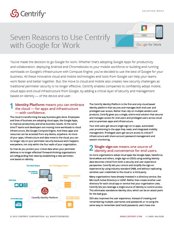 Seven Reasons to Use Centrify with Google for Work