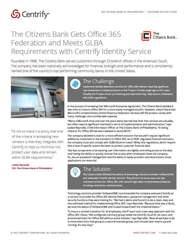 The Citizens Bank of Philadelphia Case Study