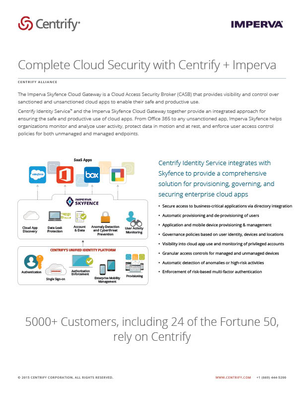 Centrify Alliance - Complete Cloud Security with Centrify + Imperva