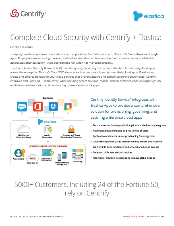 Centrify Alliance - Complete Cloud Security with Centrify + Elastica