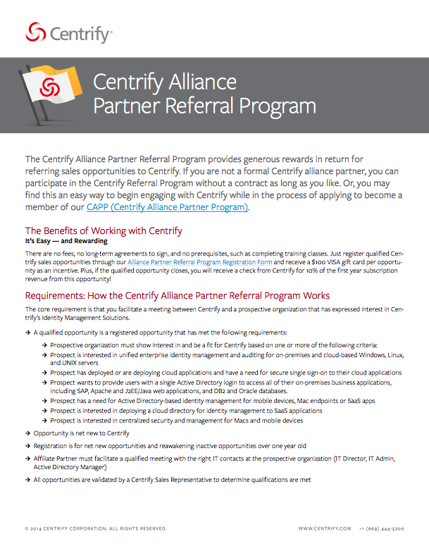 Centrify Alliance Partner Referral Program