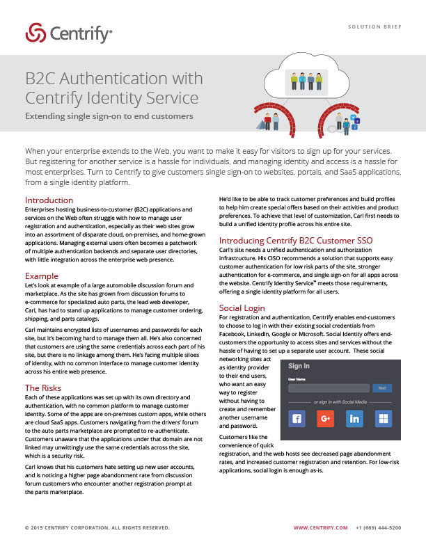 B2C Authentication with Centrify Identity Service