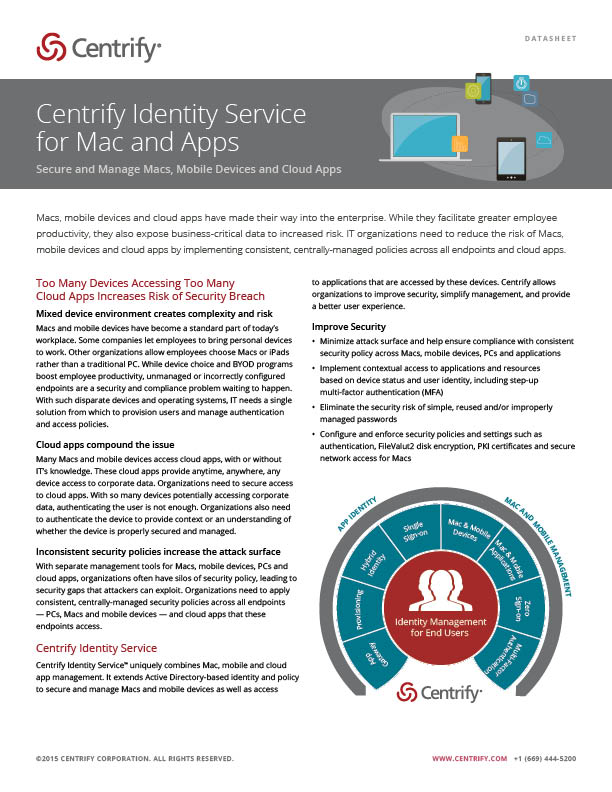 Centrify Identity Service for Mac and Apps