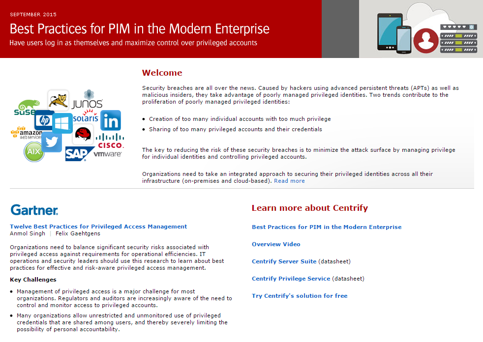 Gartner: Best Practices for PIM in the Modern Enterprise
