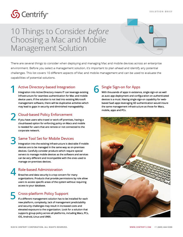 10 Things to Consider before Choosing a Mac and Mobile Management Solution