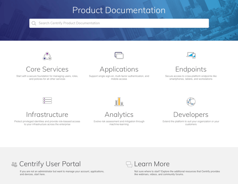 Centrify Product Documentation Portal