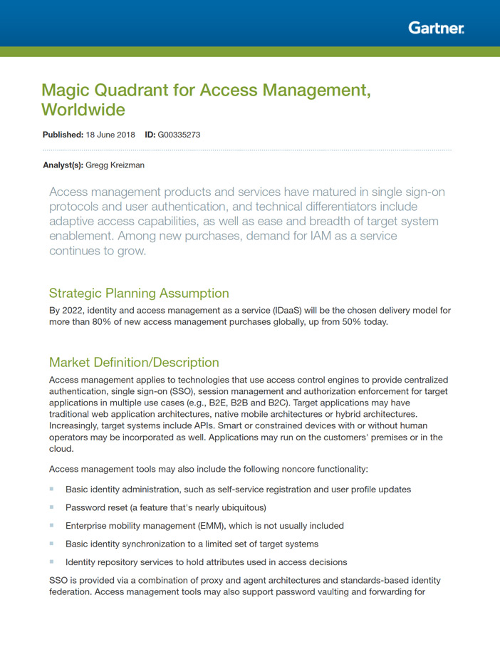 Gartner Magic Quadrant for Access Management thumbnail cover