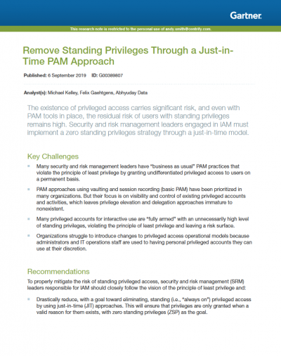 Remove standing privileges report cover