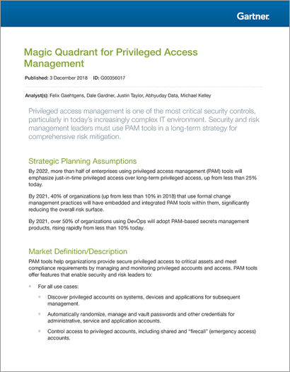 2018 Gartner Magic Quadrant for Privileged Access Management | Centrify