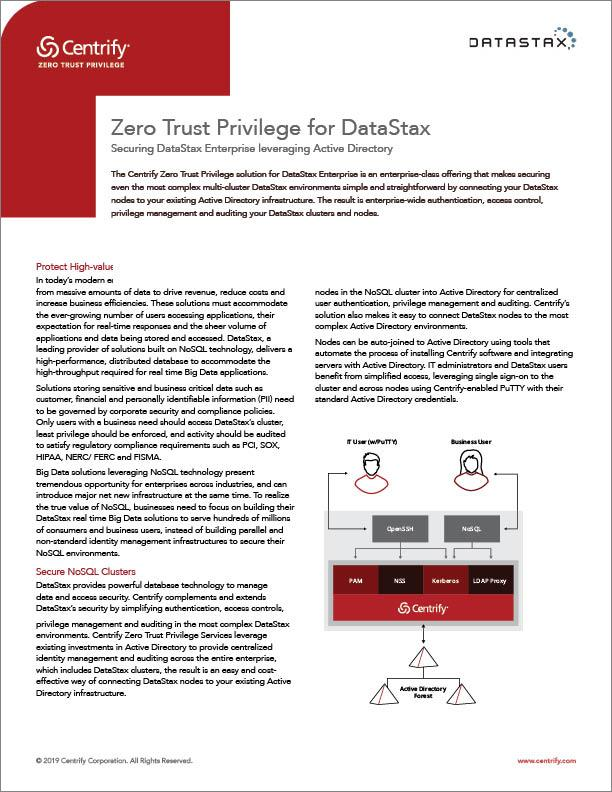 Zero Trust Privilege for DataStax | Centrify
