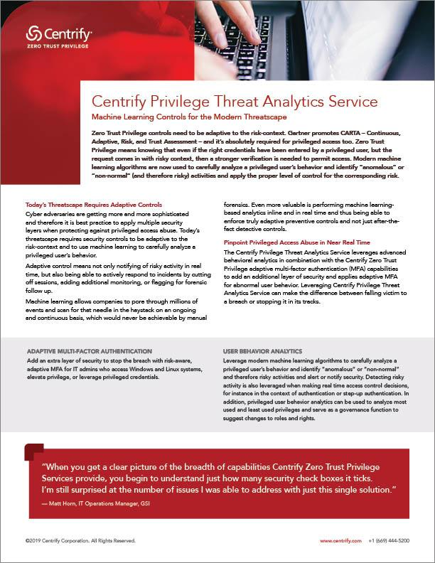 Privilege Threat Analytics Service