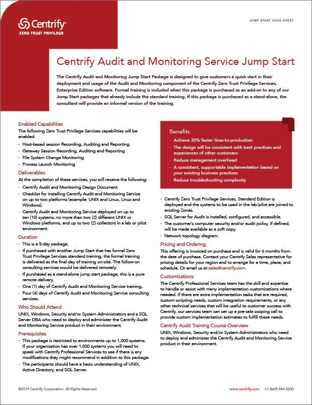Centrify Audit and Monitoring Service Jump Start