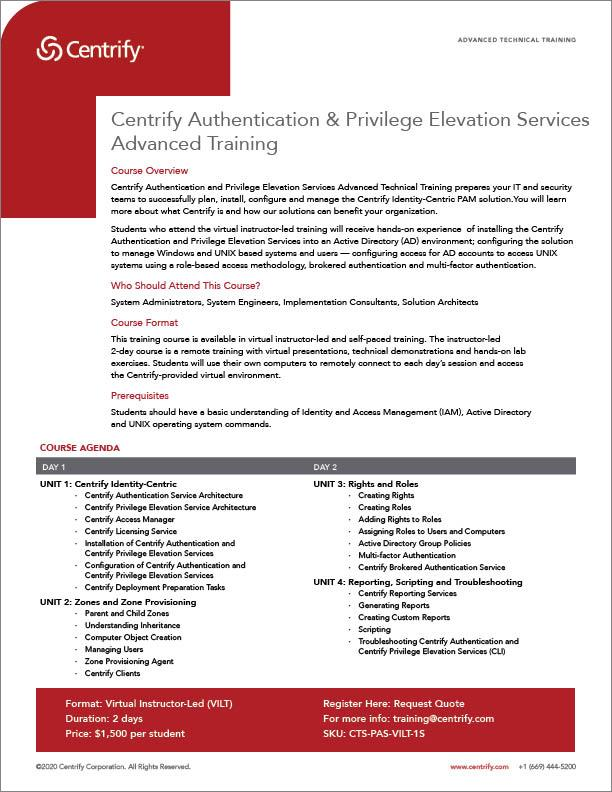 Centrify Authentication & Privilege Elevation Services Advanced Training