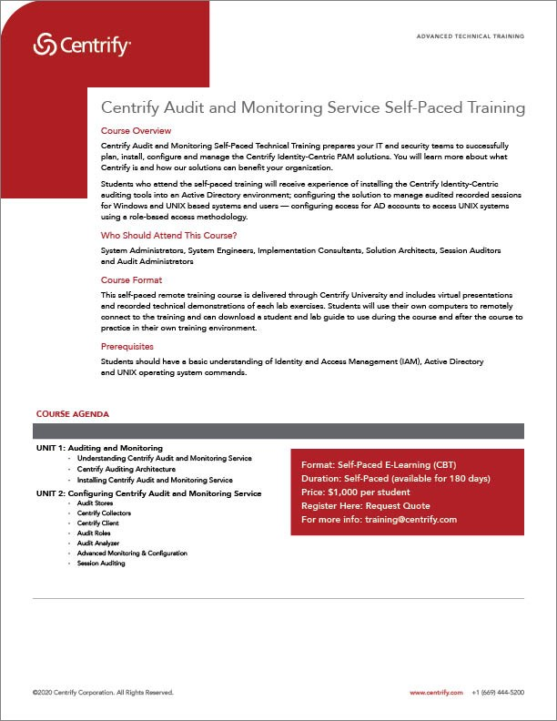 Centrify Audit & Monitoring Service Self-Paced Training