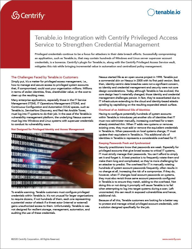 Centrify and Tenable Solution Brief
