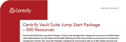 Centrify Vault Suite Jump Start Package 500 Resources