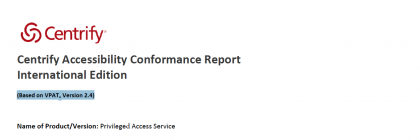 Centrify Accessibility Conformance Report
